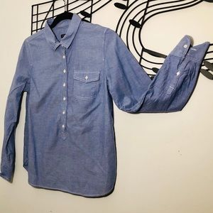 J CREW 3/4 Button Front Long Sleeve Top